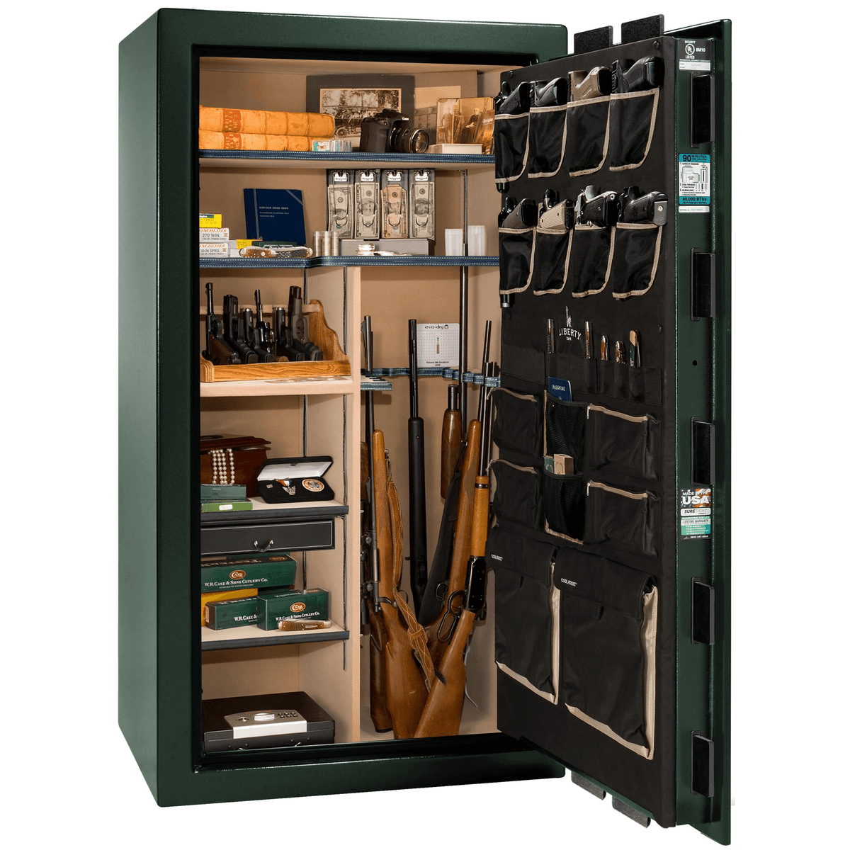 "Lincoln | 40 | Level 5 Security | 90 Minute Fire Protection | Green | Black Electronic Lock | 66.5""(H) x 36""(W) x 32""(D)"