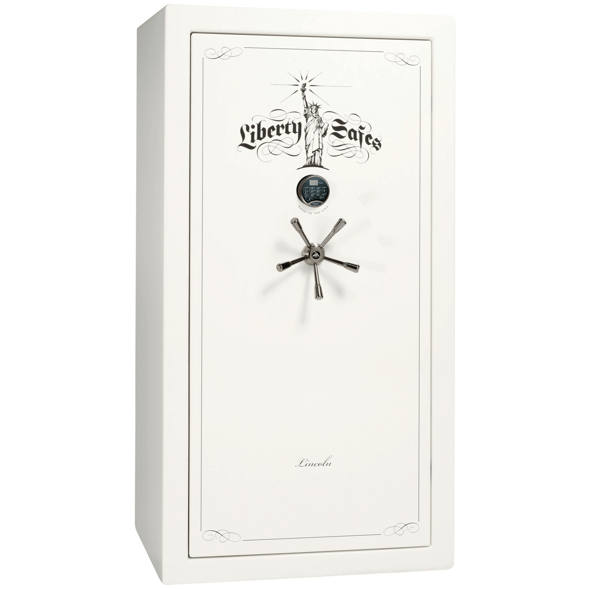 "Lincoln | 40 | Level 5 Security | 90 Minute Fire Protection | White Gloss | Black Electronic Lock | 66.5""(H) x 36""(W) x 32""(D)"
