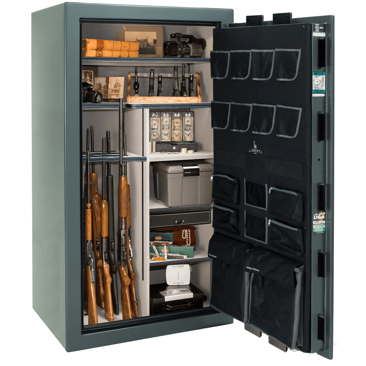 "Lincoln | 40 | Level 5 Security | 90 Minute Fire Protection | Forest Mist Gloss | Black Electronic Lock | 66.5""(H) x 36""(W) x 32""(D)"
