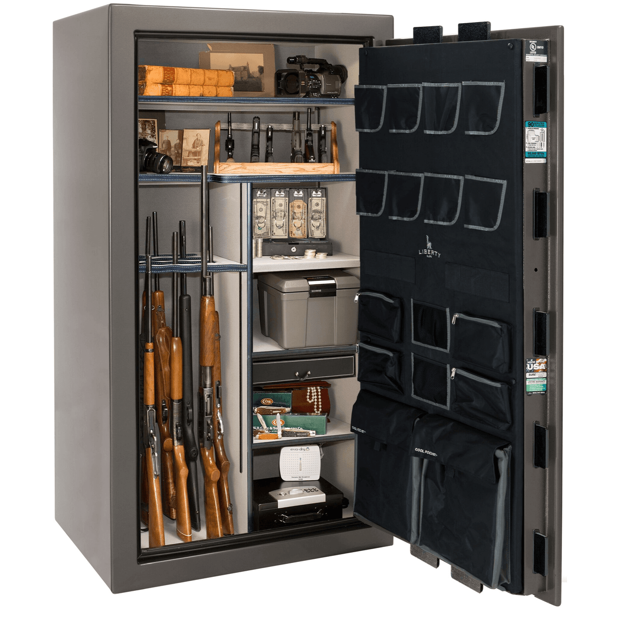 "Lincoln | 40 | Level 5 Security | 90 Minute Fire Protection | Gray Gloss | Black Mechanical Lock | 66.5""(H) x 36""(W) x 32""(D)"