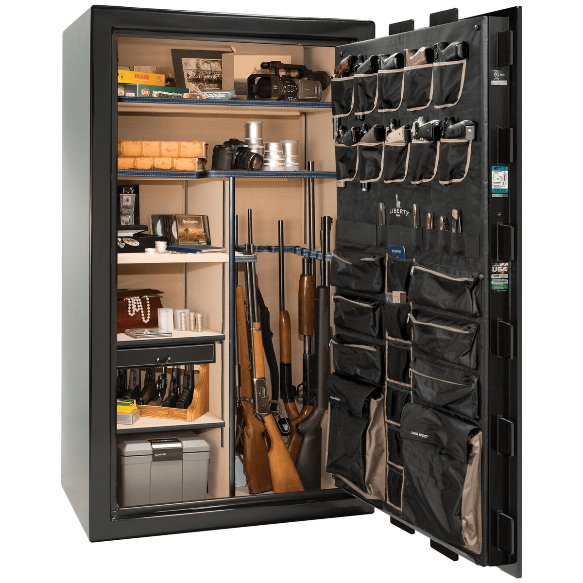 "Lincoln | 50 | Level 5 Security | 90 Minute Fire Protection | Black Gloss | Brass Electronic Lock | 72.5""(H) x 42""(W) x 32""(D)"