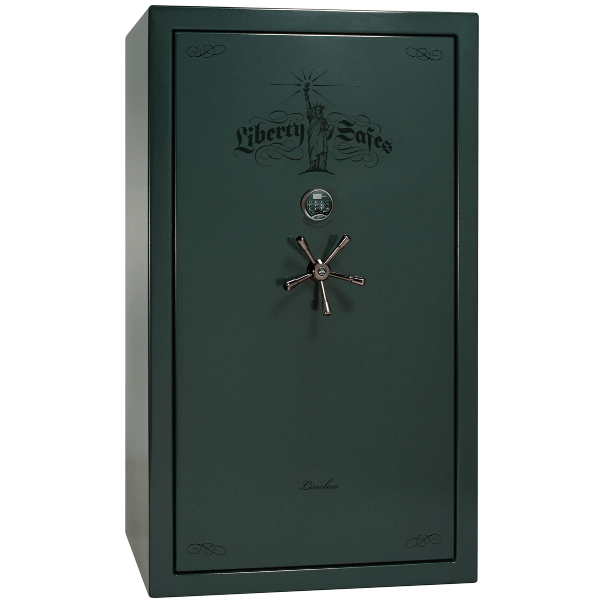 "Lincoln | 50 | Level 5 Security | 90 Minute Fire Protection | Green | Black Electronic Lock | 72.5""(H) x 42""(W) x 32""(D)"