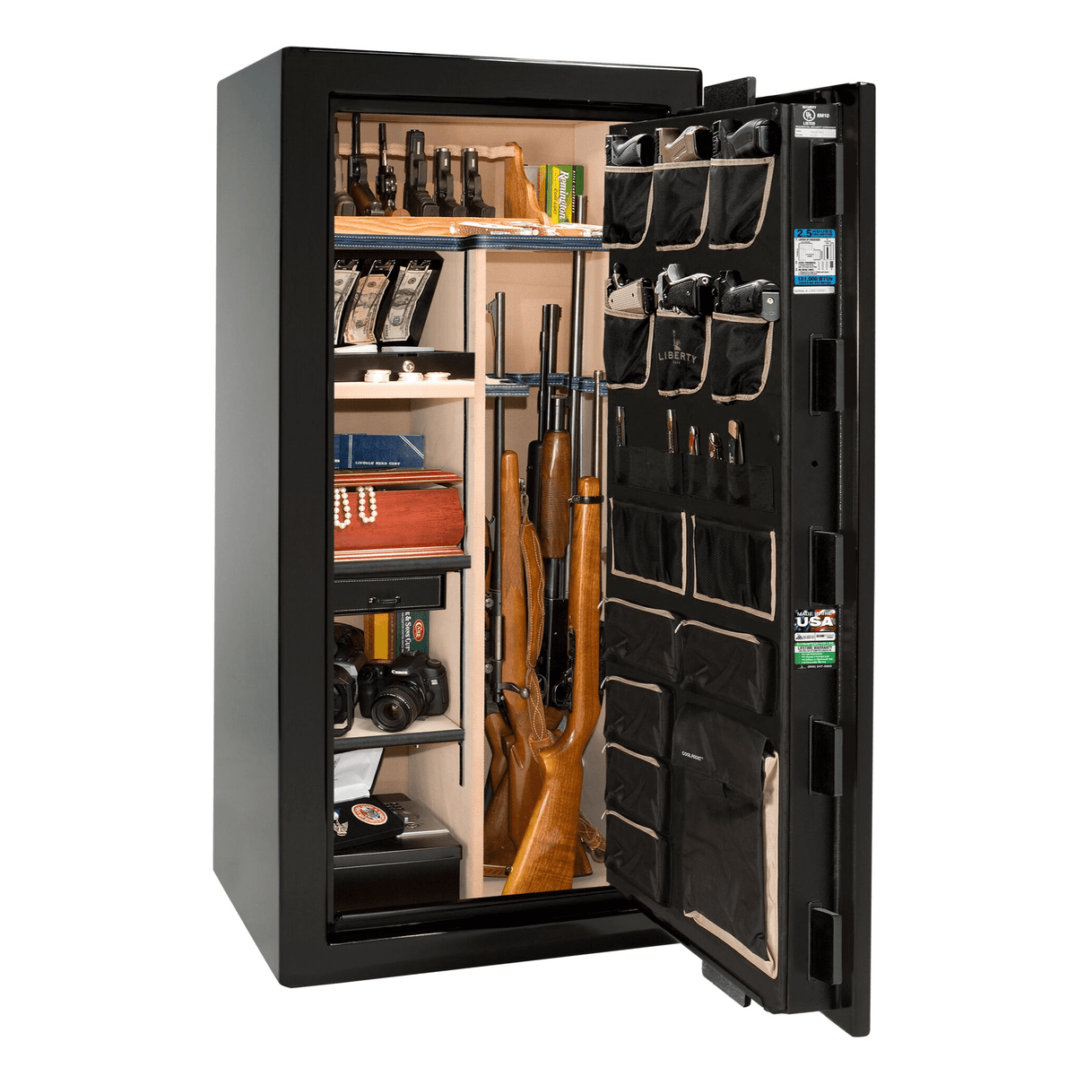 "Magnum | 25 | Level 8 Security | 150 Minute Fire Protection | Black Gloss | Brass Mechanical Lock | 60.5""(H) x 30""(W) x 29""(D)"
