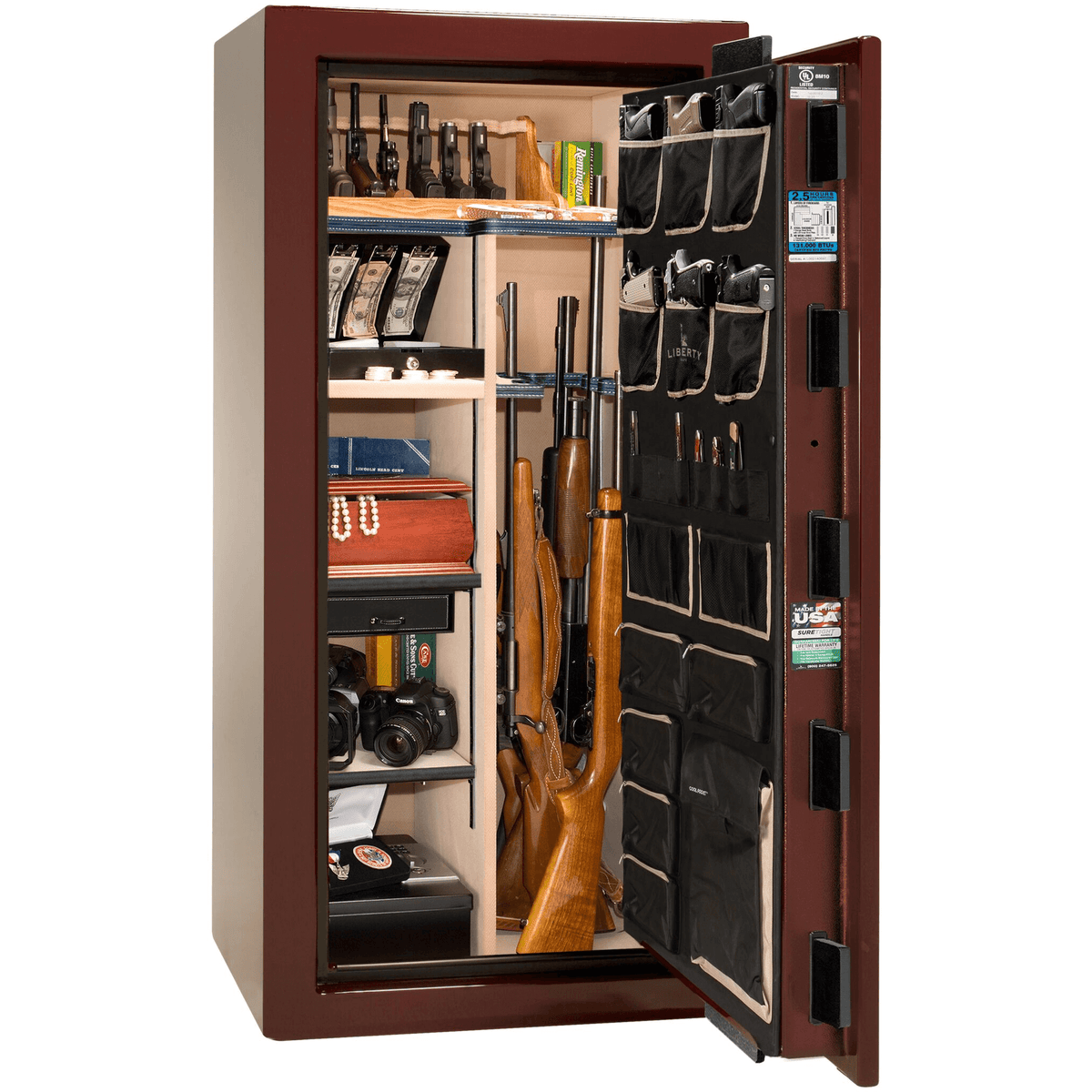 "Magnum | 25 | Level 8 Security | 150 Minute Fire Protection | Burgundy Gloss | Brass Mechanical Lock | 60.5""(H) x 30""(W) x 29""(D)"