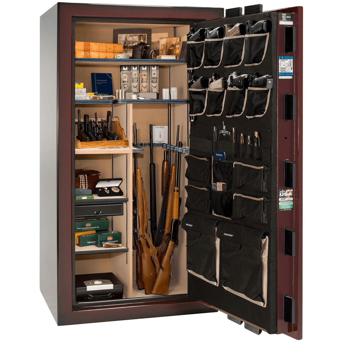 "Magnum | 40 | Level 8 Security | 150 Minute Fire Protection | Burgundy 2-Tone | Black Electronic Lock | 65.5""(H) x 36""(W) x 32""(D)"