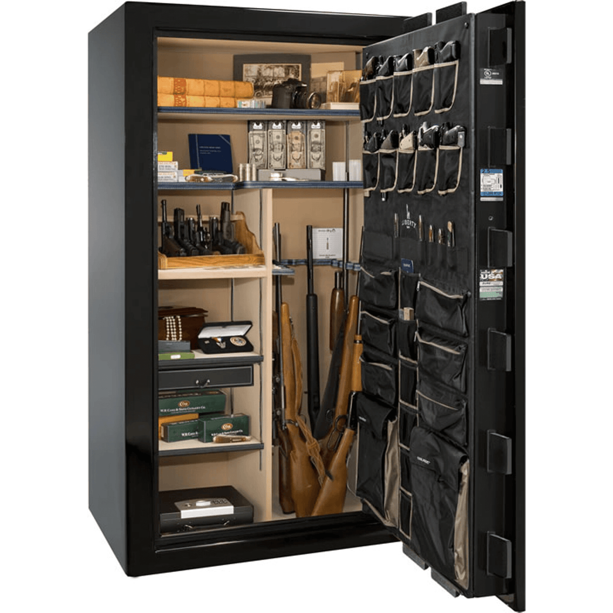 "Magnum | 50 | Level 8 Security | 150 Minute Fire Protection | Black Gloss | Brass Electronic Lock | 72.5""(H) x 42""(W) x 32""(D)"