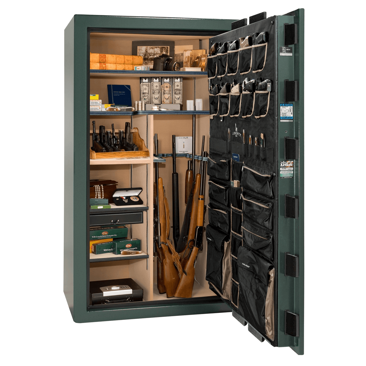 "Magnum | 50 | Level 8 Security | 150 Minute Fire Protection | Green | Black Electronic Lock | 72.5""(H) x 42""(W) x 32""(D)"