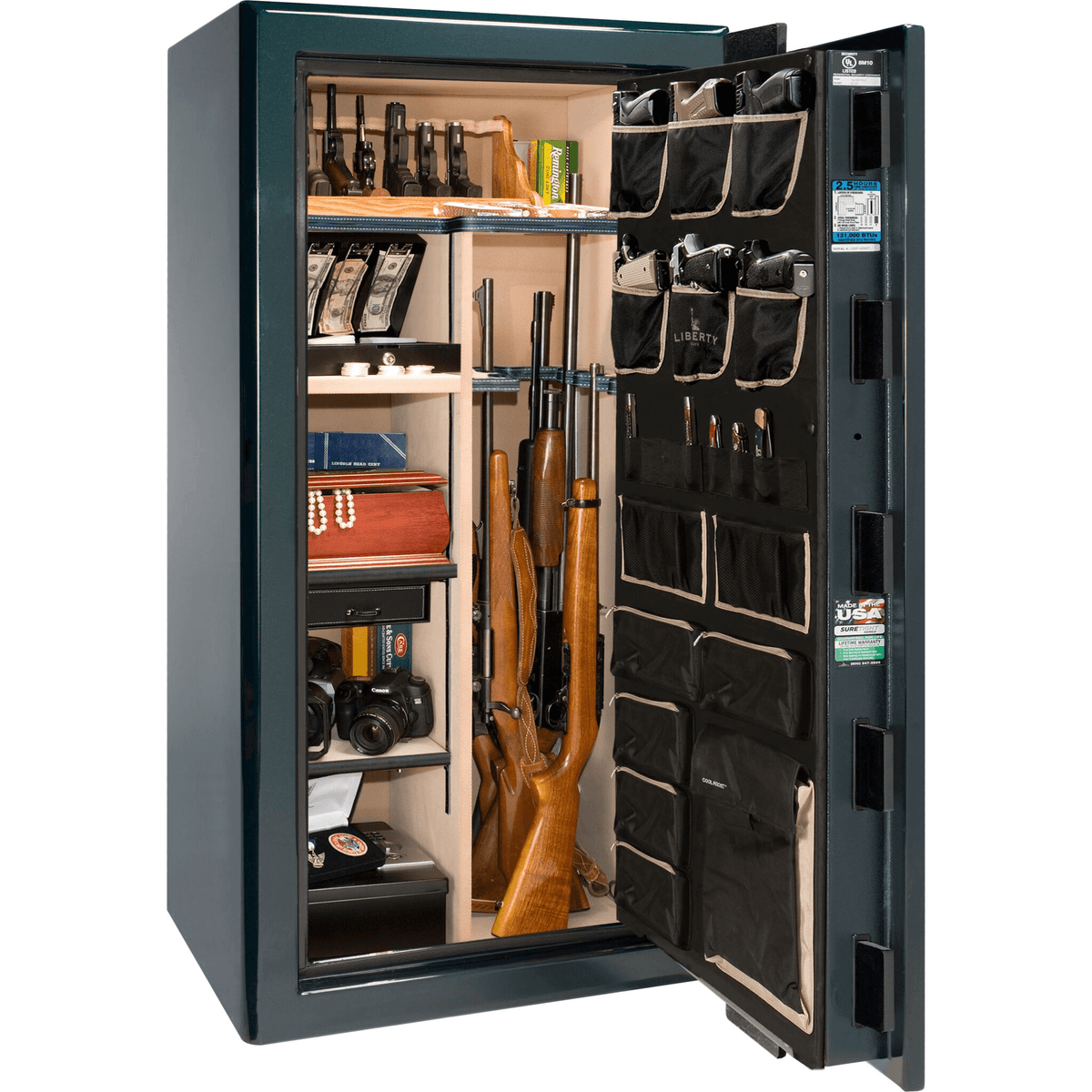 "Presidential Series | Level 8 Security | 2.5 Hours Fire Protection | Black Gloss | Electronic Lock | 40 | Dimensions: 66.5""(H) x 36""(W) x 32""(D)"