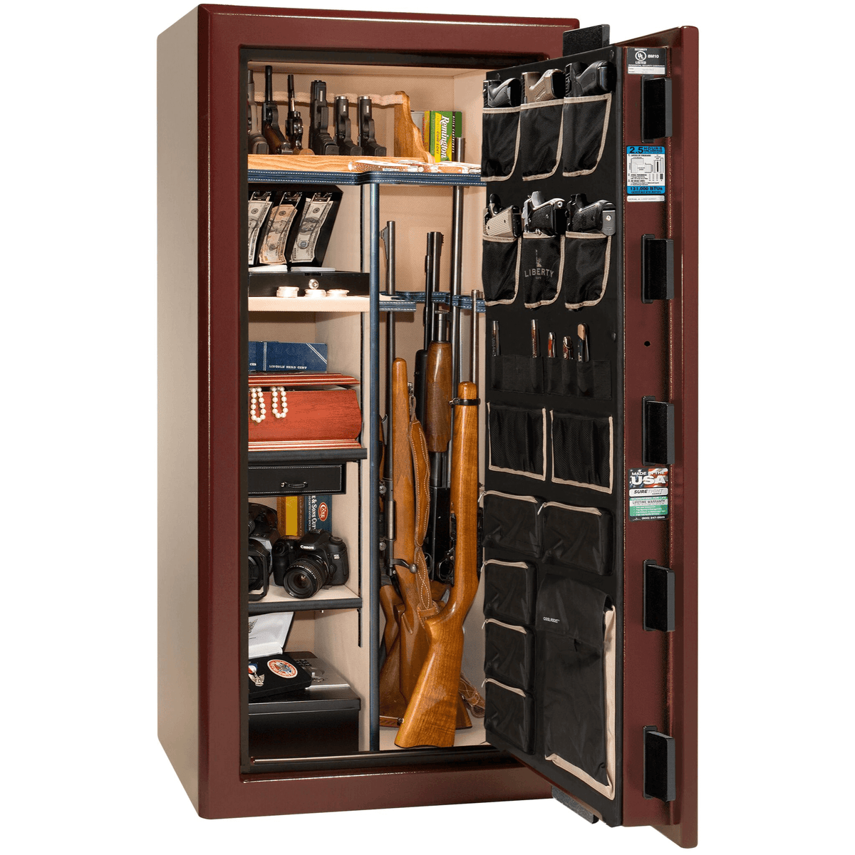 "Presidential | 25 | Level 8 Security | 150 Minute Fire Protection | Burgundy  | Brass Electronic Lock | 60.5""(H) x 30""(W) x 29""(D)"