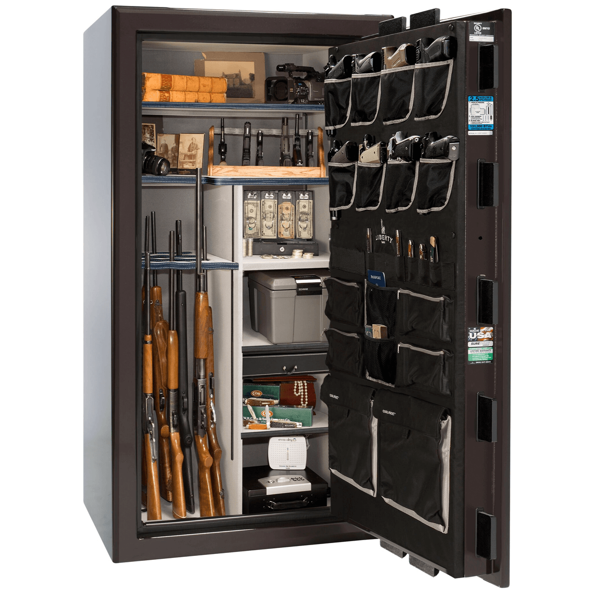 "Presidential | 40 | Level 8 Security | 150 Minute Fire Protection | Black Cherry Gloss | Black Electronic Lock | 65.5""(H) x 36""(W) x 32""(D)"