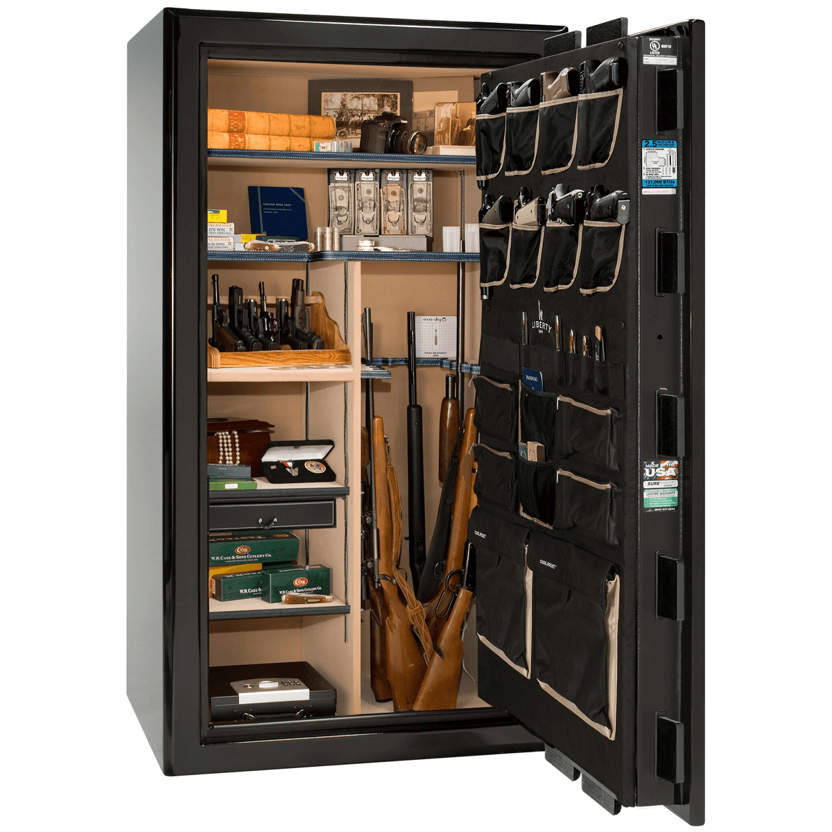 "Presidential | 40 | Level 8 Security | 150 Minute Fire Protection | Black Gloss | Black Electronic Lock | 65.5""(H) x 36""(W) x 32""(D)"