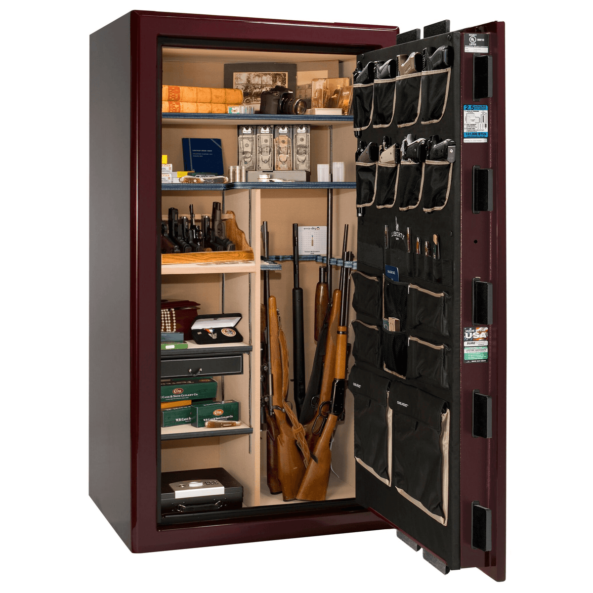 "Presidential | 40 | Level 8 Security | 150 Minute Fire Protection | Burgundy Gloss | Brass Electronic Lock | 65.5""(H) x 36""(W) x 32""(D)"