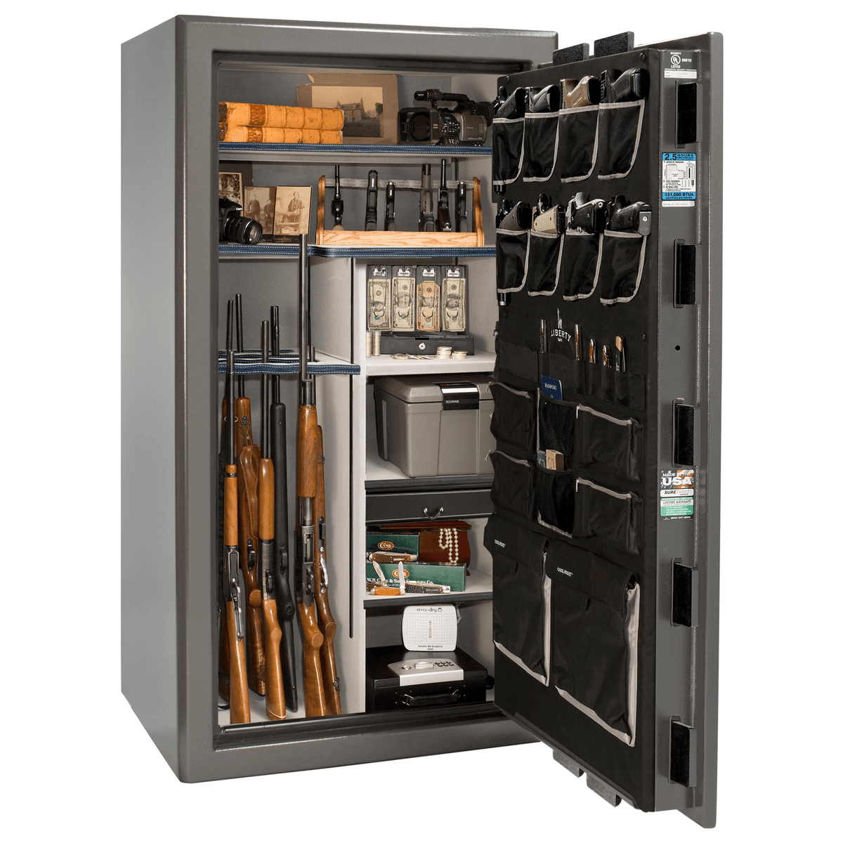 "Presidential | 40 | Level 8 Security | 150 Minute Fire Protection | Gray Gloss | Black Electronic Lock | 65.5""(H) x 36""(W) x 32""(D)"