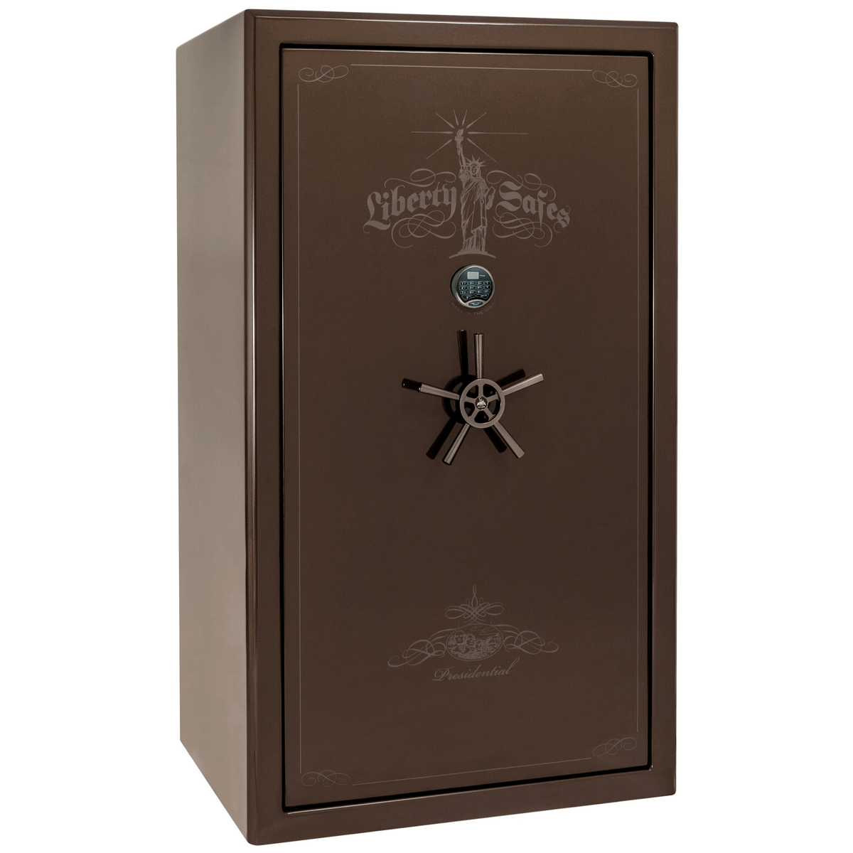 "Presidential | 50 | Level 8 Security | 150 Minute Fire Protection | Bronze Gloss | Black Electronic Lock | 72.5""(H) x 42""(W) x 32""(D)"