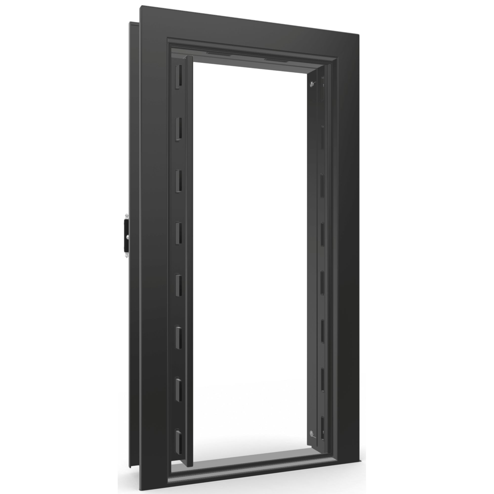 "Vault Door Left Inswing | Black Gloss | Chrome Electronic Lock | 81-85""(H) x 27-42""(W) x 7-10""(D)"
