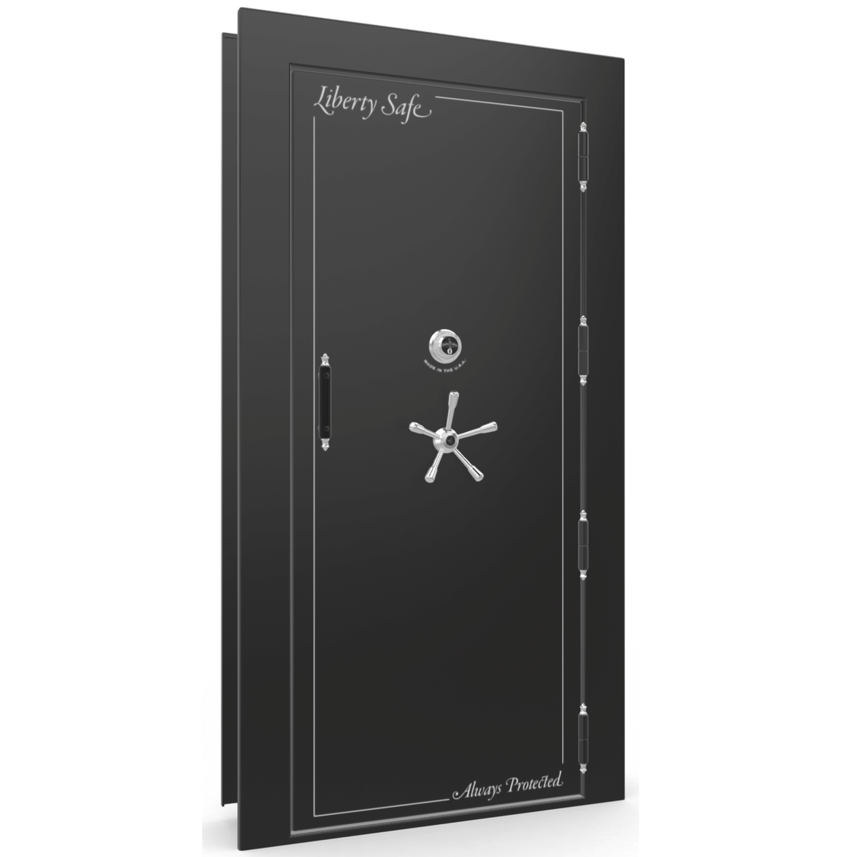 "Vault Door Right Outswing | Black Gloss | Chrome Mechanical Lock | 81-85""(H) x 27-42""(W) x 7-10""(D)"
