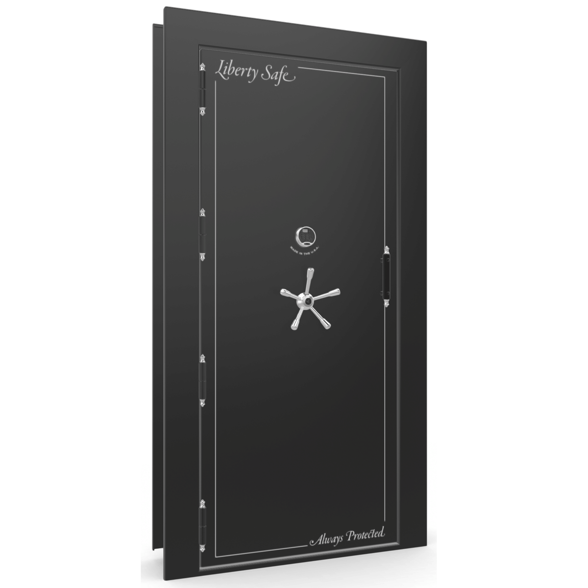 "Vault Door Left Outswing | Black Gloss | Chrome Electronic Lock | 81-85""(H) x 27-42""(W) x 7-10""(D)"