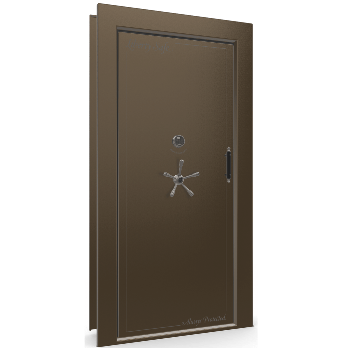 "Vault Door Left Inswing | Bronze Gloss | Black Electronic Lock | 81-85""(H) x 27-42""(W) x 7-10""(D)"