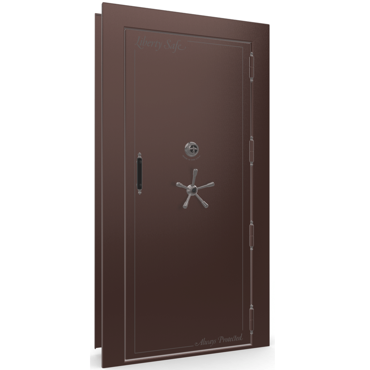 "Vault Door Right Outswing | Burgundy | Black Mechanical Lock | 81-85""(H) x 27-42""(W) x 7-10""(D)"