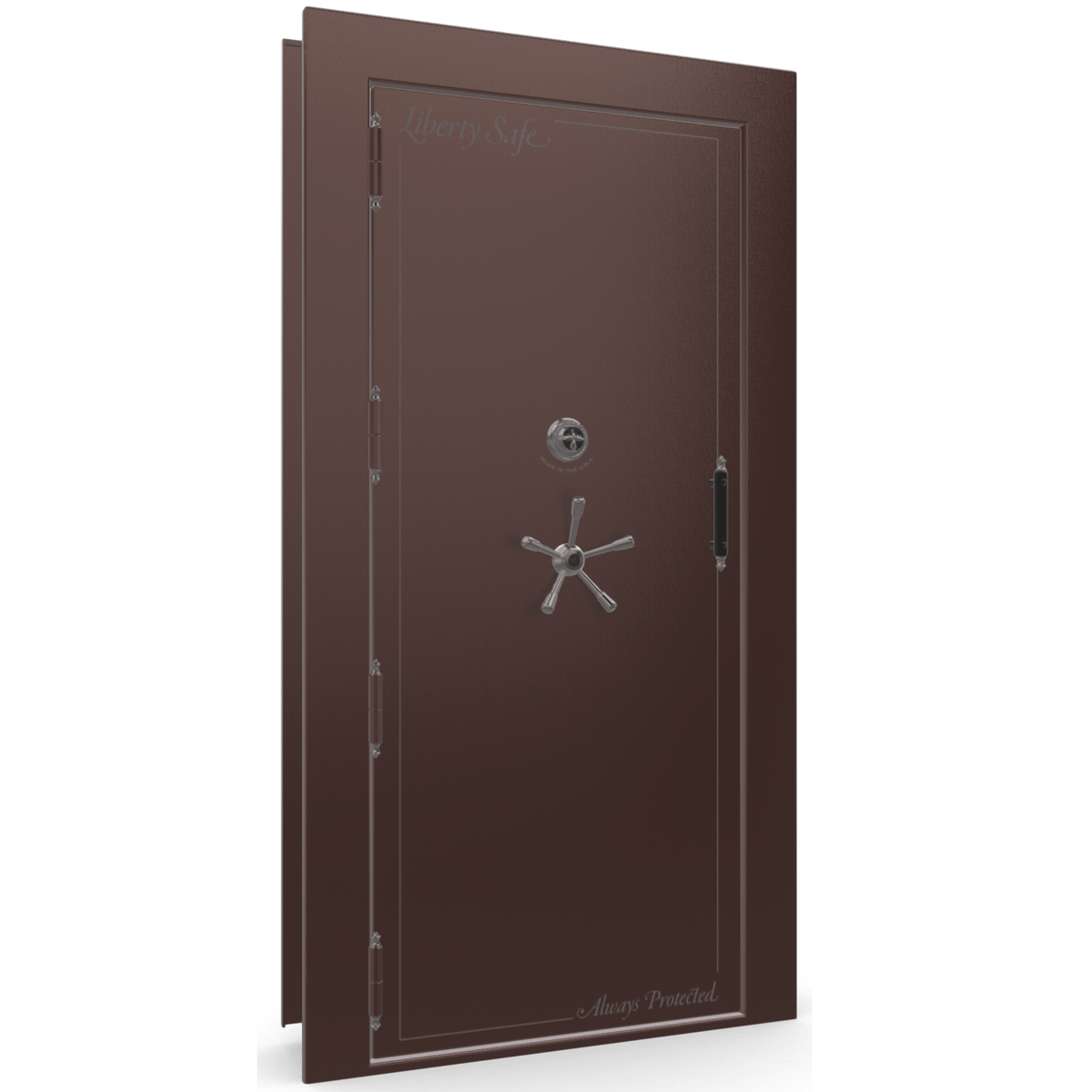 "Vault Door Left Outswing | Burgundy | Black Mechanical Lock | 81-85""(H) x 27-42""(W) x 7-10""(D)"