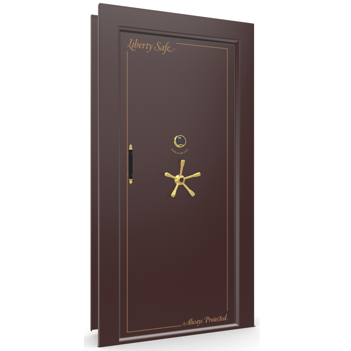 "Vault Door Right Inswing | Burgundy | Brass Electronic Lock | 81-85""(H) x 27-42""(W) x 7-10""(D)"