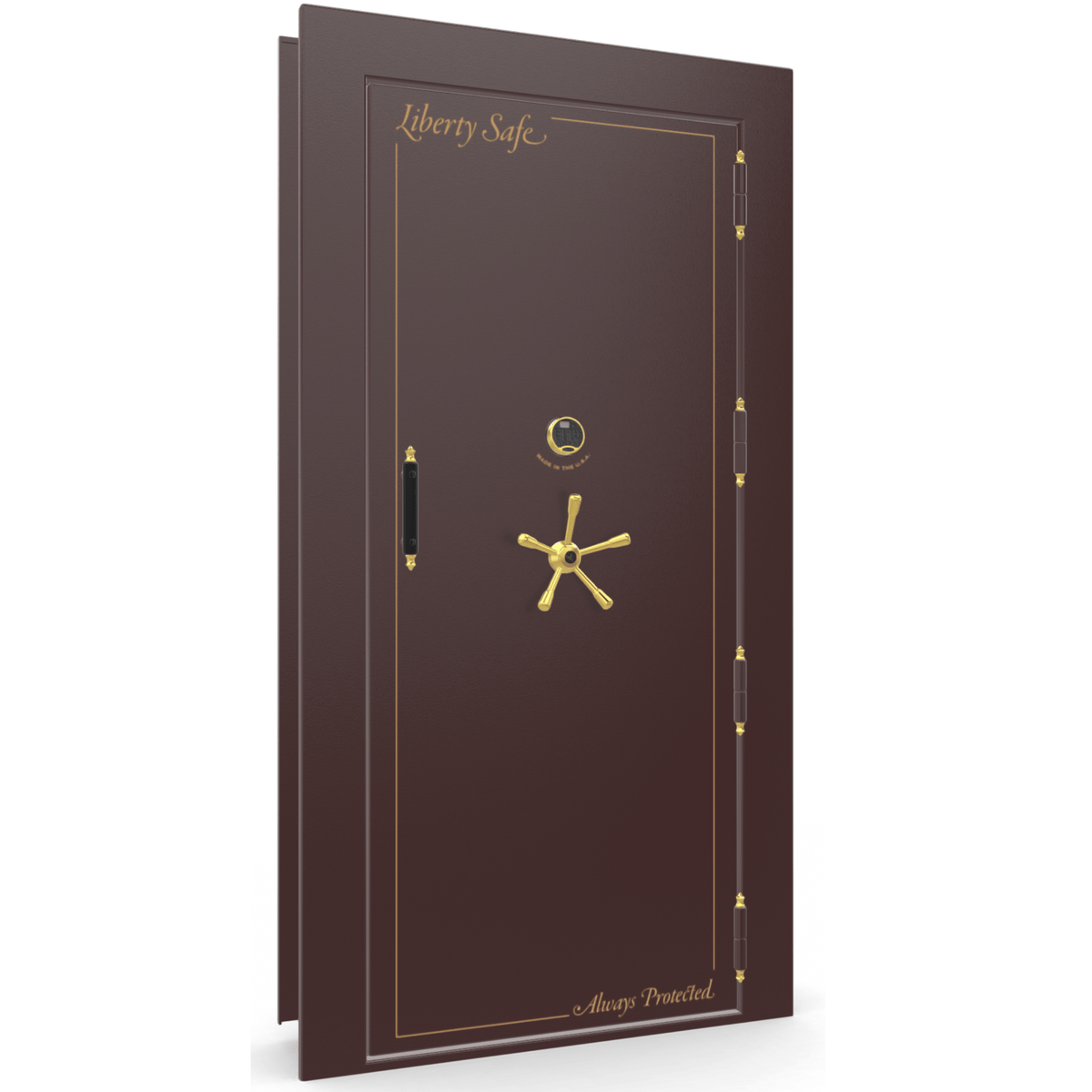 "Vault Door Right Outswing | Burgundy | Brass Electronic Lock | 81-85""(H) x 27-42""(W) x 7-10""(D)"