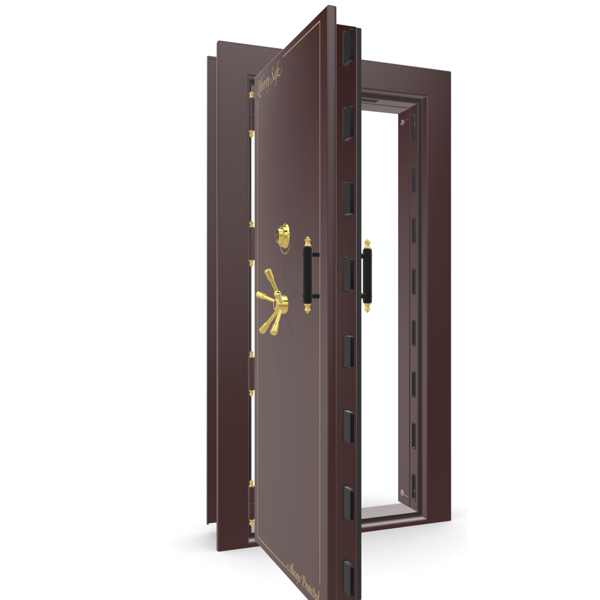 "Vault Door Left Outswing | Burgundy | Brass Electronic Lock | 81-85""(H) x 27-42""(W) x 7-10""(D)"