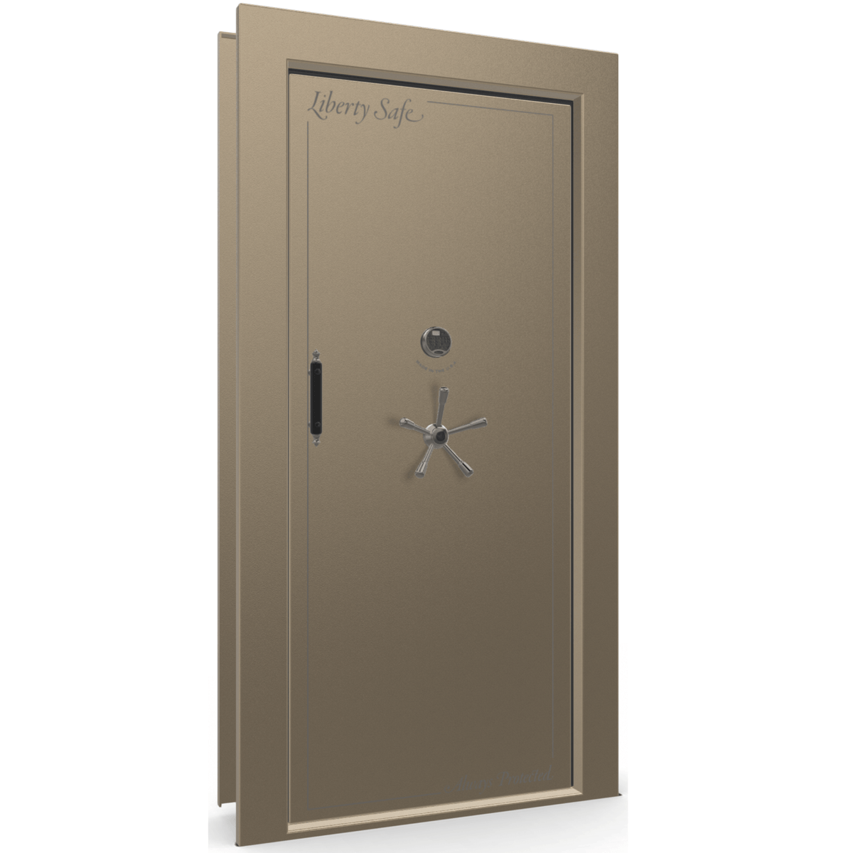 "Vault Door Right Inswing | Champagne | Black Electronic Lock | 81-85""(H) x 27-42""(W) x 7-10""(D)"