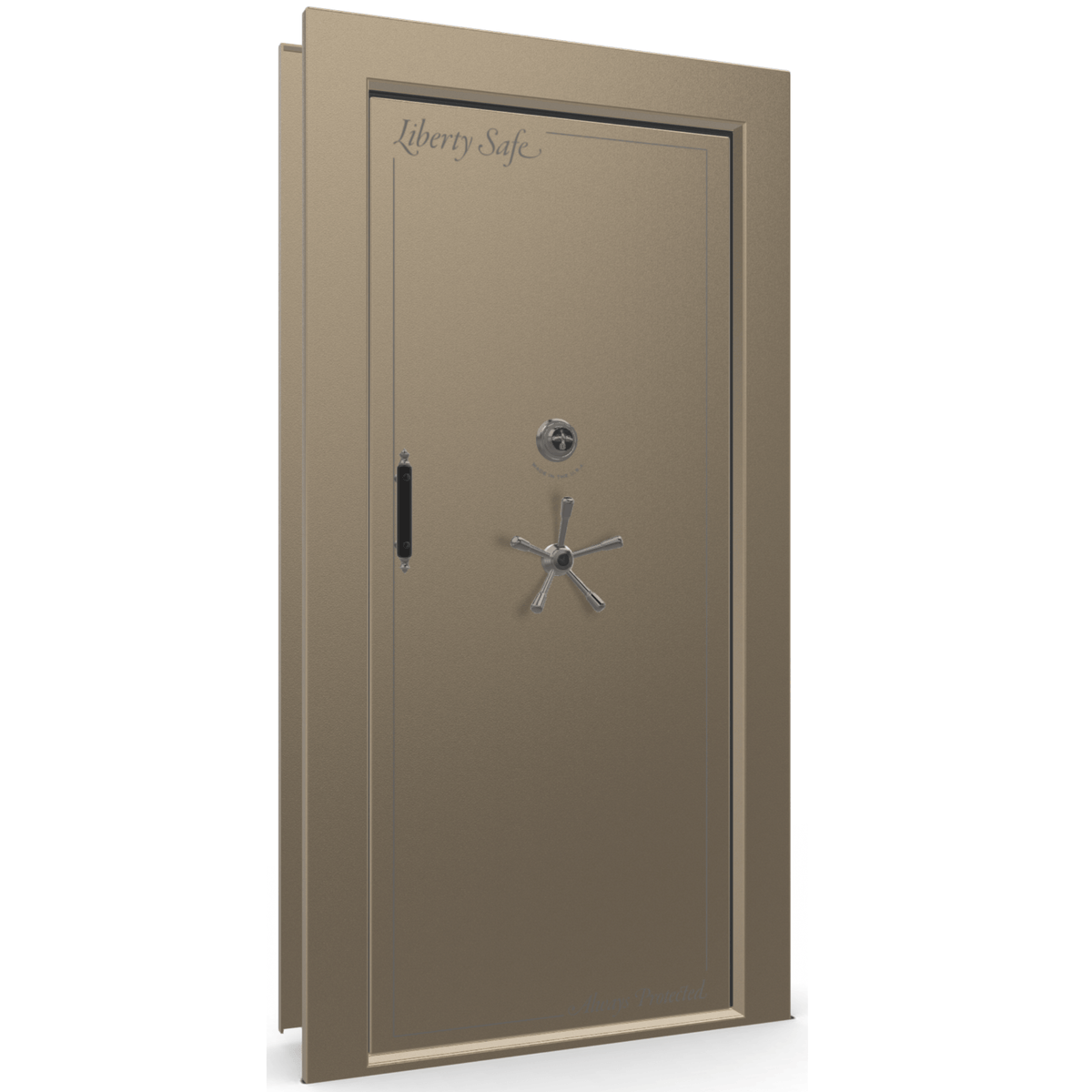 "Vault Door Right Inswing | Champagne | Black Mechanical Lock | 81-85""(H) x 27-42""(W) x 7-10""(D)"