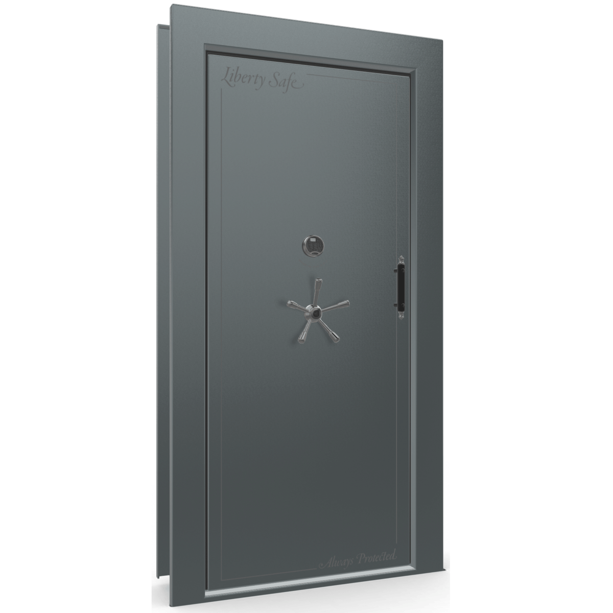 "Vault Door Left Inswing | Forest Mist Gloss | Black Electronic Lock | 81-85""(H) x 27-42""(W) x 7-10""(D)"