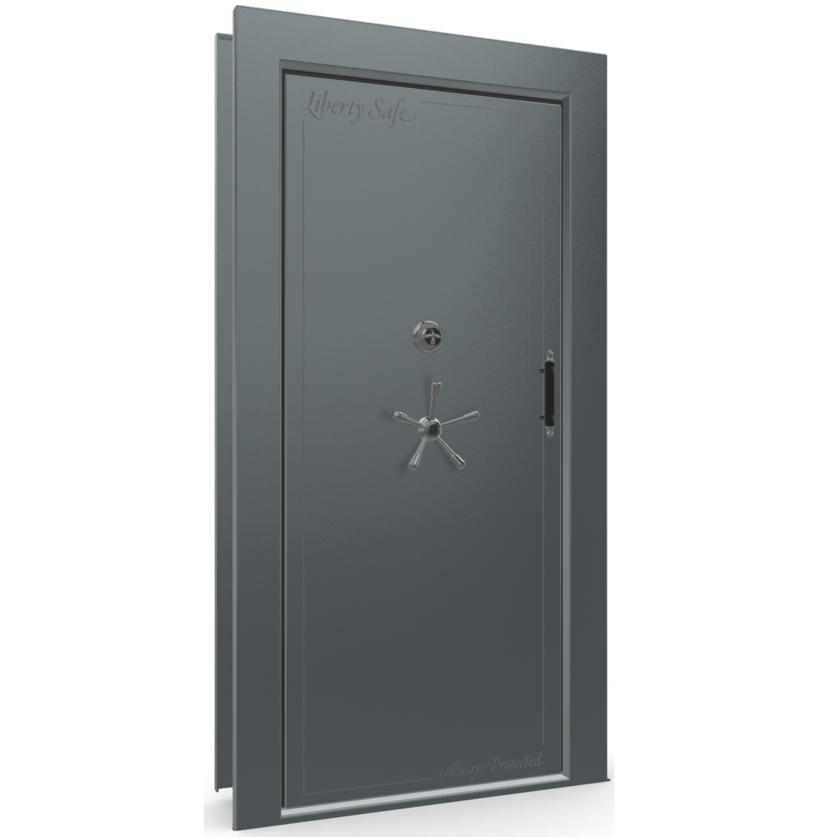 "Vault Door Left Inswing | Forest Mist Gloss | Black Mechanical Lock | 81-85""(H) x 27-42""(W) x 7-10""(D)"