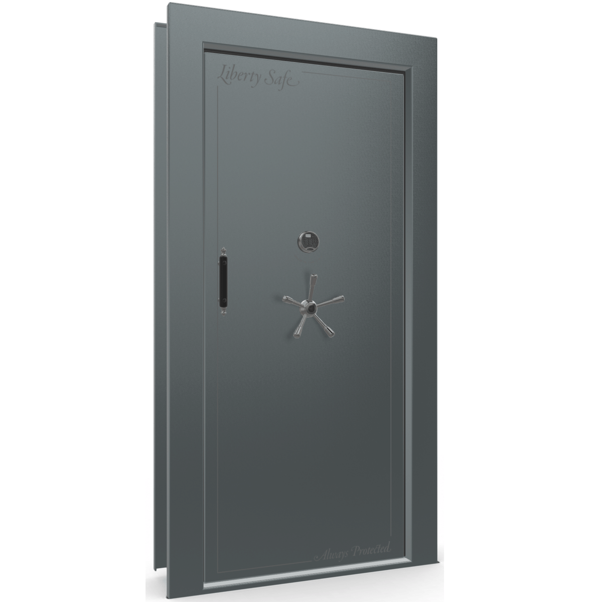 "Vault Door Right Inswing | Forest Mist Gloss | Black Electronic Lock | 81-85""(H) x 27-42""(W) x 7-10""(D)"