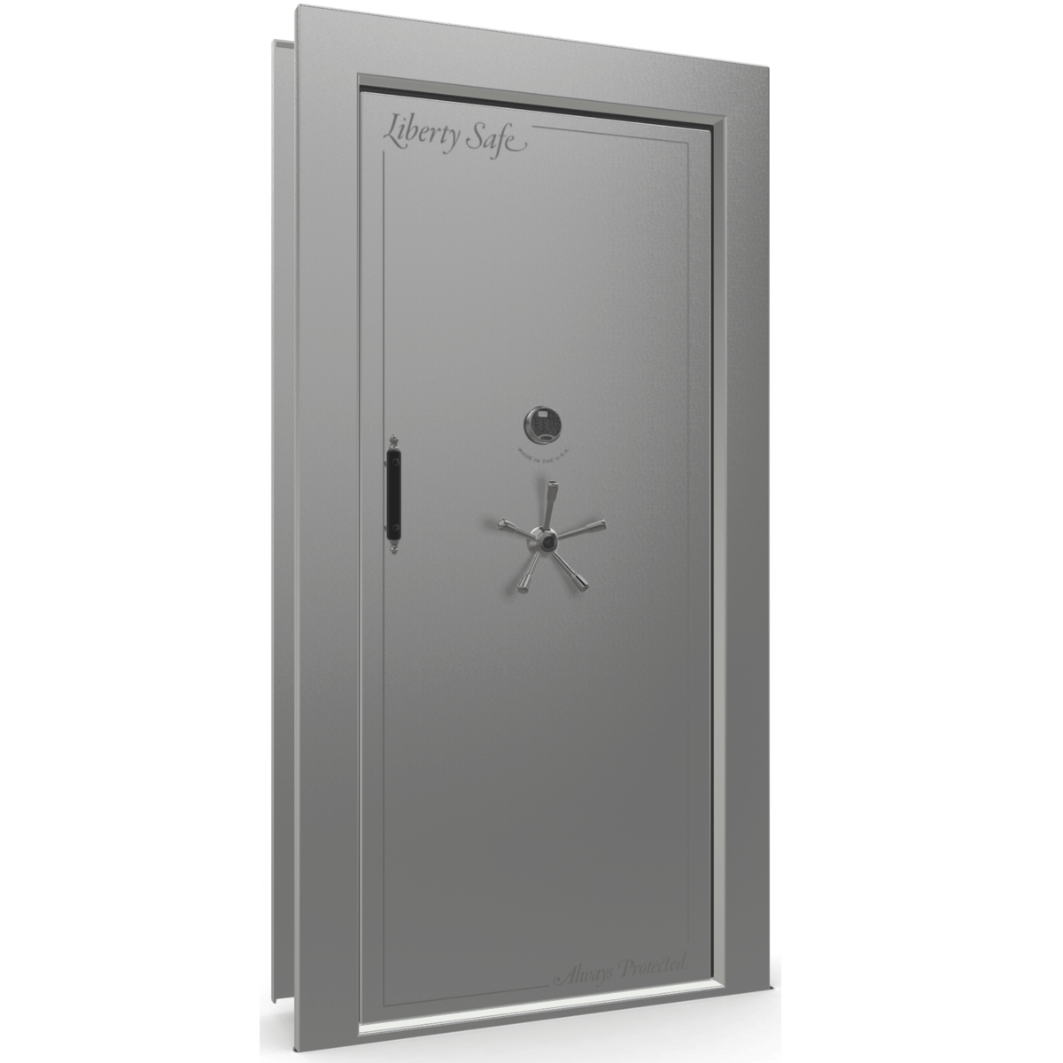 "Vault Door Right Inswing | Gray Gloss | Black Electronic Lock | 81-85""(H) x 27-42""(W) x 7-10""(D)"