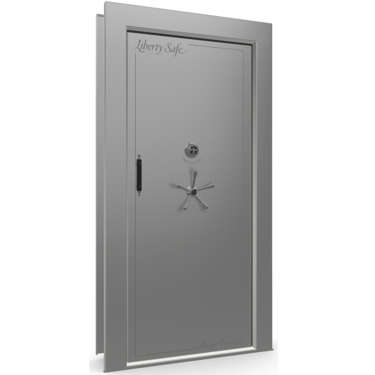 "Vault Door Right Inswing | Gray Gloss | Black Mechanical Lock | 81-85""(H) x 27-42""(W) x 7-10""(D)"