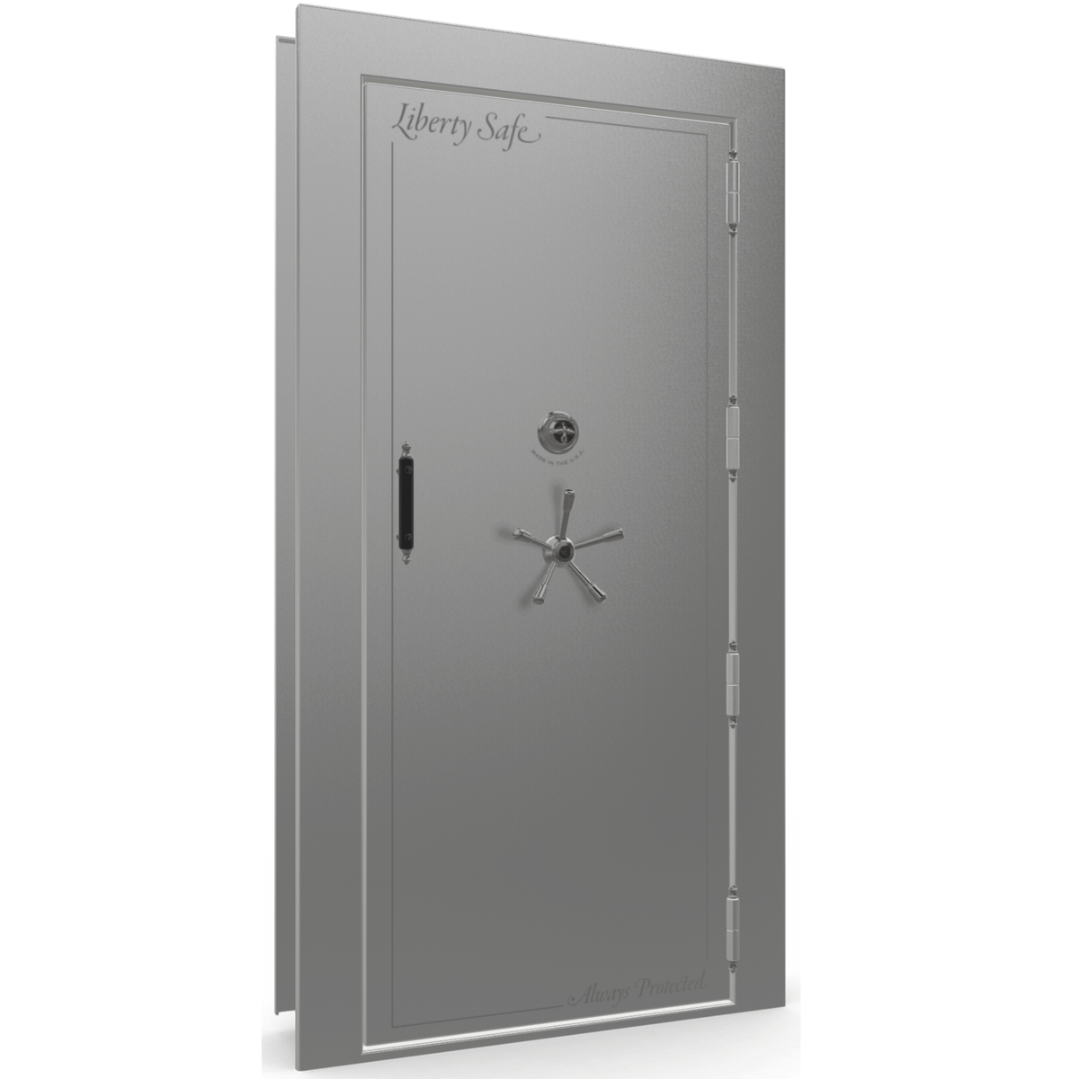 "Vault Door Right Outswing | Gray Gloss | Black Mechanical Lock | 81-85""(H) x 27-42""(W) x 7-10""(D)"