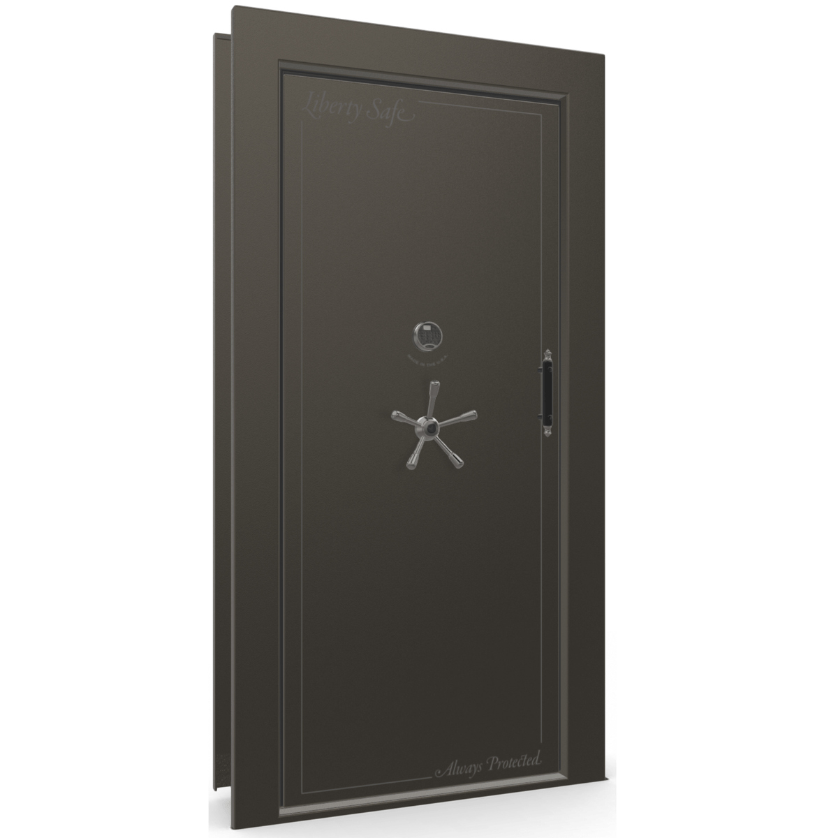 "Vault Door Left Inswing | Gray | Black Electronic Lock | 81-85""(H) x 27-42""(W) x 7-10""(D)"