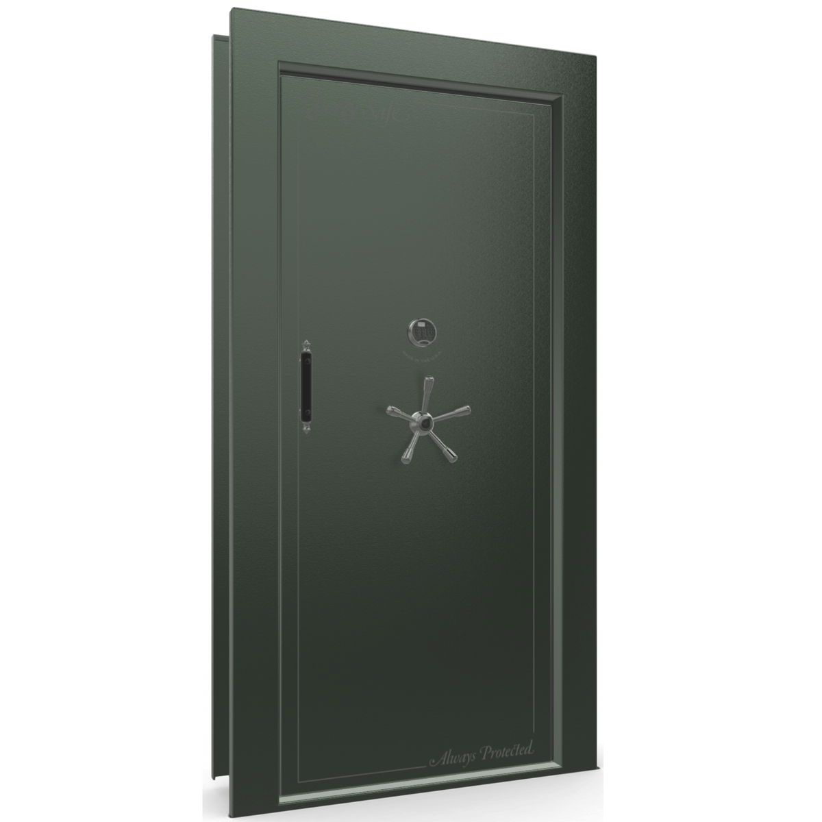 "Vault Door Right Inswing | Green | Black Electronic Lock | 81-85""(H) x 27-42""(W) x 7-10""(D)"