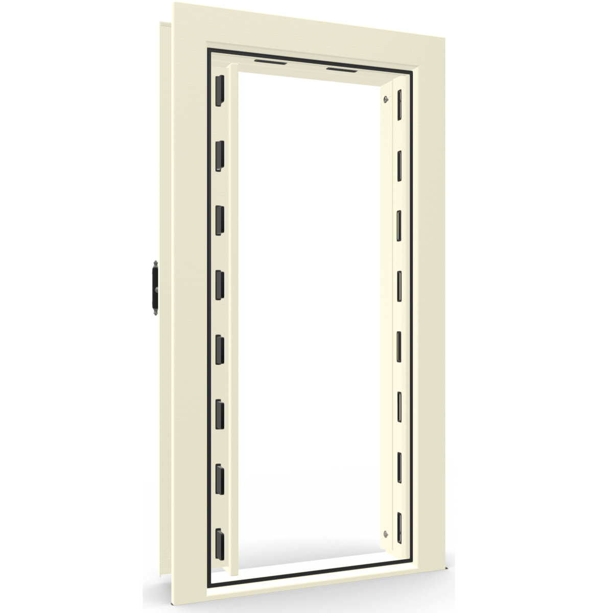 "Vault Door Left Inswing | White | Black Mechanical Lock | 81-85""(H) x 27-42""(W) x 7-10""(D)"
