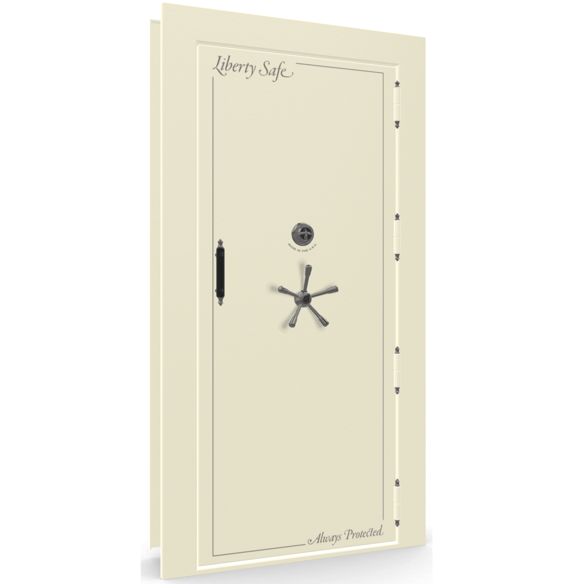 "Vault Door Right Outswing | White | Black Mechanical Lock | 81-85""(H) x 27-42""(W) x 7-10""(D)"