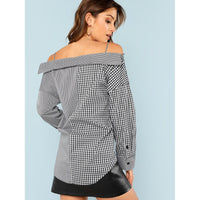 Collared Cold Shoulder Mixed Gingham Blouse