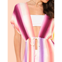 Front Tie Stripe Print Cover Up