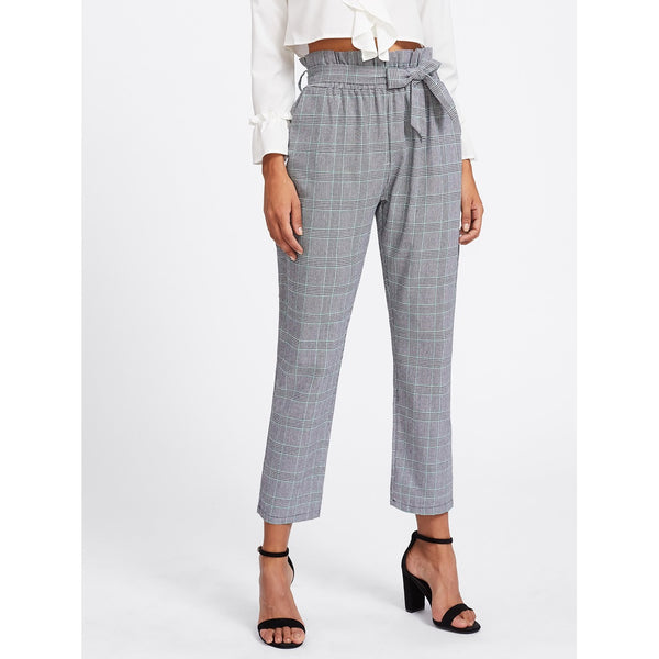 Tie Waist Glen Plaid Frill Pants