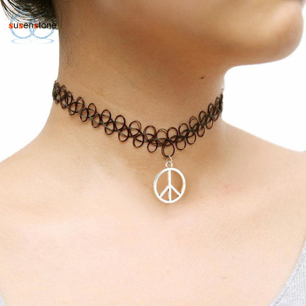 SUSENSTONE Tattoo Peace Choker Necklace Stretch Double Layer Henna Vintage torque