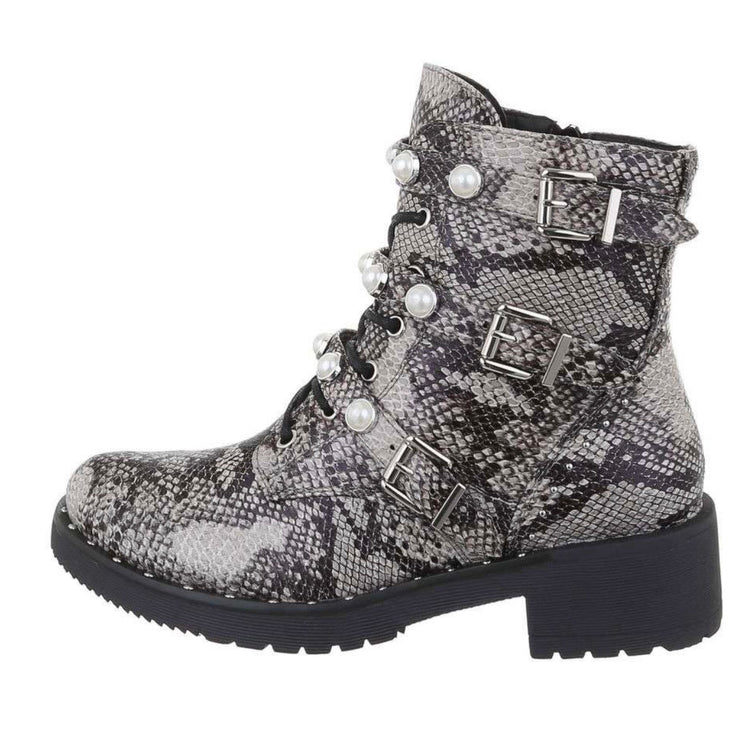 """SNAKY SNAKE"" Lace-Up Boots"