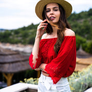 Red Off-Shoulder Top