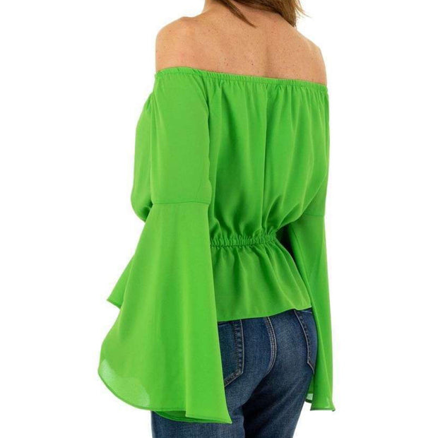 """TESSA"" Off-Shoulder Blouse Green"