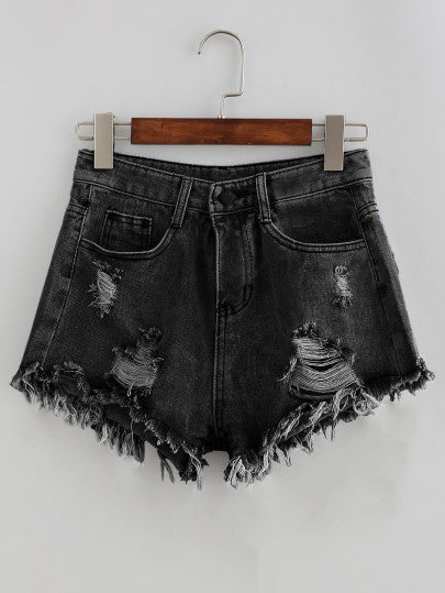 Bleach Wash Distressed Denim Shorts