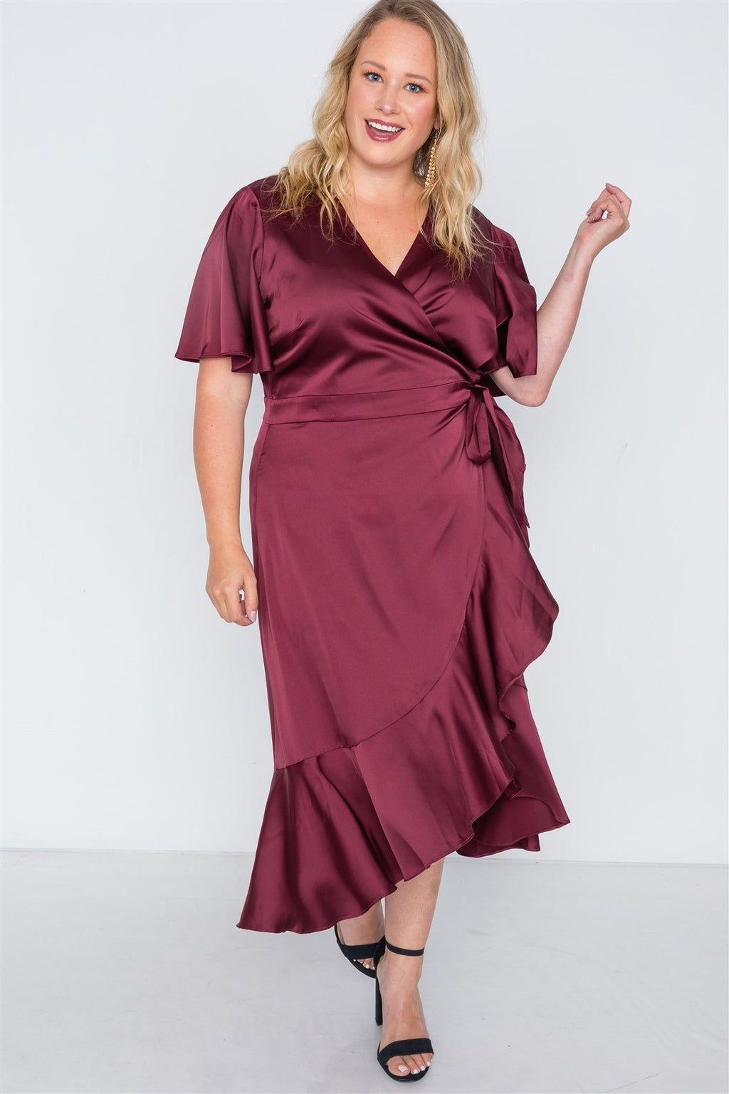 Sami Plus Size Satin Flounce Dress