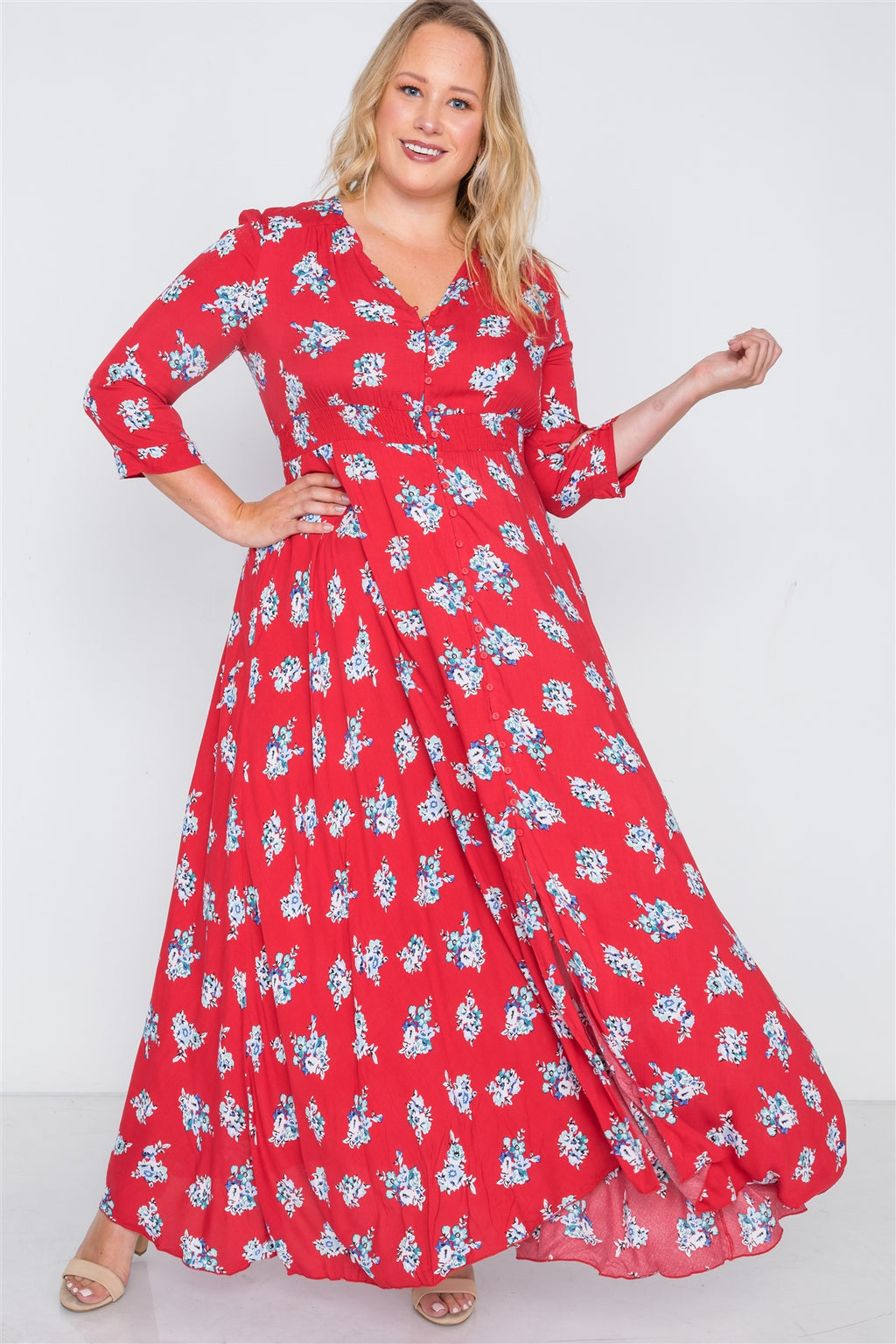 Haley Plus Size Red Floral Maxi