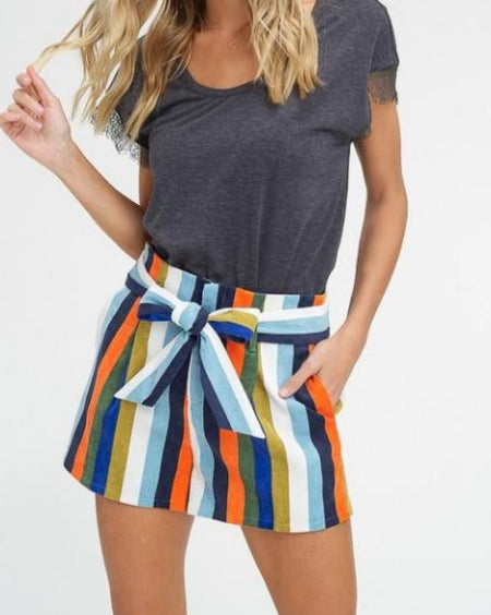 Multi Stripe Adjustable Corduroy Shorts